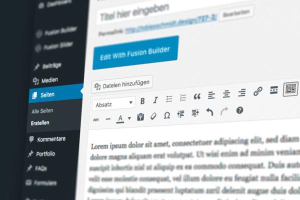 Wordpress Bearbeitung auf einem Bildschirm